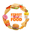 fast food round banner frame with street meals vector image