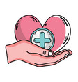 hand with heart medicine symbol to help the people vector image vector image