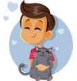 happy boy holding a cat cartoon vector image vector image