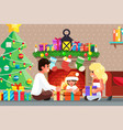 happy family front fireplace opens gifts vector image vector image