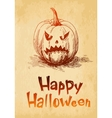 Happy Halloween pumpkin Jack O Lantern drawn in a vector image vector image