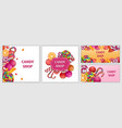 happy sweet candy day banner set realistic style vector image vector image