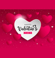 happy valentines day pink and white heart banners vector image