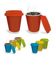 Hot tea cappuccino coffee in colorful paper cups vector image vector image