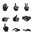 human hand symbol icon set vector image vector image