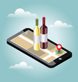 isometric food delivering looking for bar or vector image