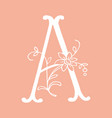 letter a with floral decoration handmade letter vector image vector image