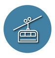 line icon of cable railway with shadow eps 10 vector image vector image
