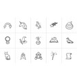 magic and fairytale theme sketch icon set vector image