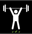 man uping weight it is white icon vector image vector image