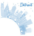 outline detroit michigan usa city skyline with vector image vector image