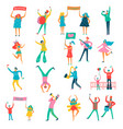 people parade flat set vector image vector image