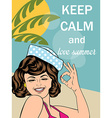 Retro style with message Keep calm and love summer vector image vector image