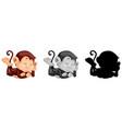 set of monkey sleeping vector image
