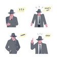 set of mysterious man solves the problem vector image vector image