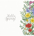 square card decorated with wild blooming flowers vector image