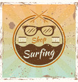 surfing colored vintage emblem with sunglasses vector image vector image