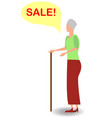 surprised woman face with open mouth and a sale vector image