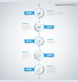 time line info graphic with labels in blue white vector image vector image