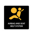 warning dashboard car icon airbag and seat belt vector image