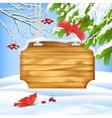 Winter Landscape Birds Wooden Board vector image