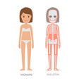 Woman anatomy and skeleton struct colorful banner