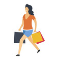 woman with shopping bags isolated icon vector image vector image