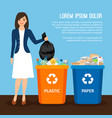 woman with trash keep clean and garbage sorting vector image vector image
