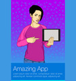 business woman holding tablet pc vector image