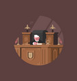 wise judge in chair at workplace vector image