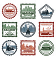 vintage locomotive stickers and stamps set vector image