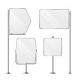 3d blank boards on poles for placing price and vector image vector image