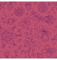 Abstract doodle floral seamless pattern in purple vector image vector image