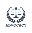 Advocacy icon justice scales laurel wreath vector image vector image