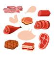 bacon chicken smoked ham cartoon style vector image vector image
