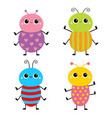 beetle bug set insect animal cute cartoon kawaii vector image vector image