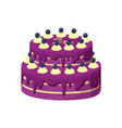 big lilac pie with berries vector image vector image