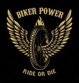 biker power wheel with wings vector image vector image