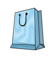blue paper shopping bag with handles vector image