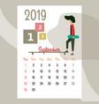 calendar 2019 september calendar calendar vector image vector image