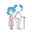 caricature faceless full body elderly couple with vector image vector image
