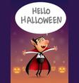 cartoon dracula says hello halloween vector image vector image