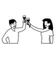 cartoon happy couple vector image vector image