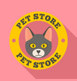 cat pet store logo flat style vector image