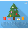 Christmas tree flat design greeting card vector image vector image