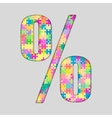 Color Puzzle - Percent Mark Gigsaw Piece vector image vector image