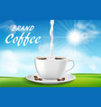 cup cappuccino coffee composition with sunny vector image