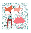 cute fox couple in flower seamless background vector image vector image