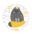 cute gray cat princess with a red tail vector image