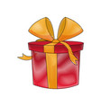 drawing red gift box wrapped ribbon bow decoration vector image